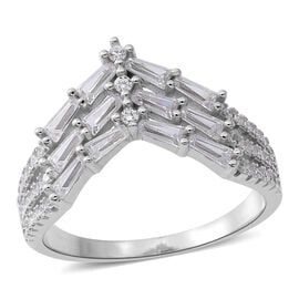 ELANZA Simulated White Diamond (Bgt and Rnd) Ring in Rhodium Plated Sterling Silver