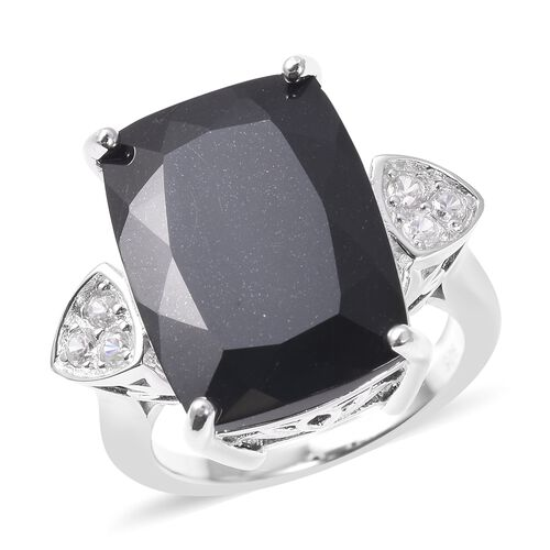 Black Tourmaline and Zircon Solitaire Design Ring in Rhodium Plated Silver,15.05 Ct