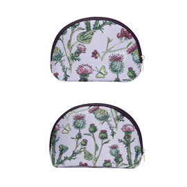 Signare Tapestry - Big Cosmetic bag in Thistle design (24.5 x 15.5 x 8.8 cms) with Free small cosmet
