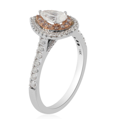NY Closeout- 14K White Gold GSI Certified White Diamond (SI2/G-H), Natural Pink Diamond Ring 1.00 Ct.