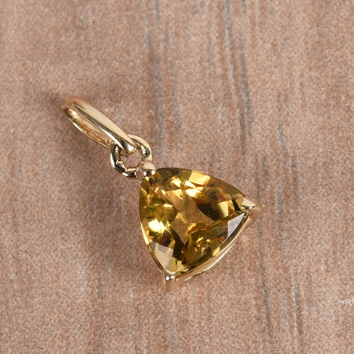9K Yellow Gold AA Marialite Soliatire Pendant 0.40 Ct.