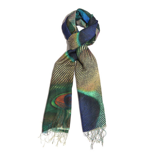 100% Katan Silk Blue, Green and Multi Colour Peacock Pattern Scarf with Tassels (Size 200x70 Cm)