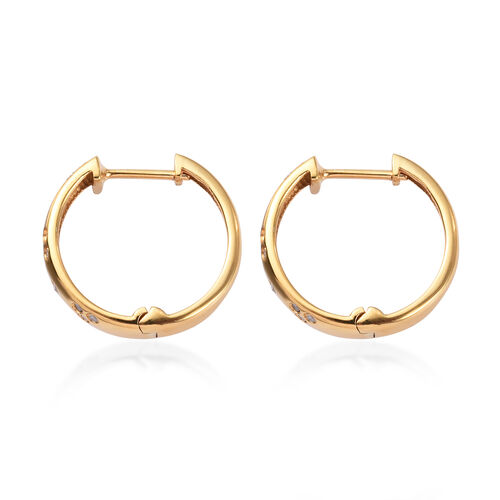 Diamond Hoop Earrings (with Clasp) in 14K Gold Overlay Sterling Silver 0.25 Ct.