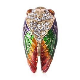 White Austrain Crystal (Rnd) Enamelled Cicada Brooch in Yellow Gold Plated