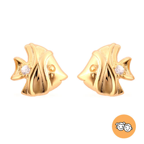 RACHEL GALLEY - Natural Cambodian Zircon Fish Stud Earrings (with Push Back) in Yellow Gold Overlay
