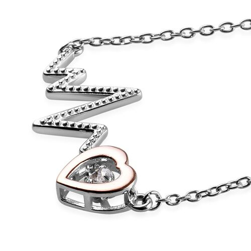 J Francis - Rose Gold and Platinum Overlay Sterling Silver (Rnd) Lifeline Pulse Heartbeat Necklace (Size 18) Made with SWAROVSKI ZIRCONIA