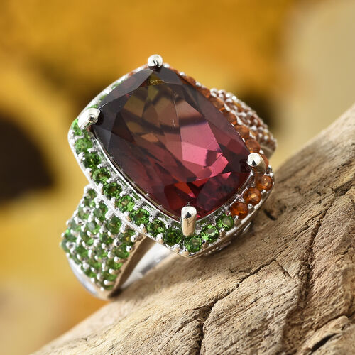 Finch Quartz (Cush 14x10 mm), Russian Diopside,Madeira Citrine Ring in Platinum Overlay Sterling Silver 8.750 Ct, Silver wt 5.74 Gms.