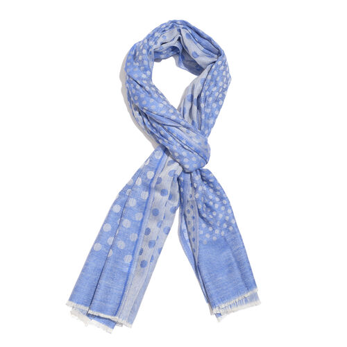 100% Cashmere Wool Blue and Grey Colour Polka Dots Pattern Scarf with Fringes L200x W70 Cm