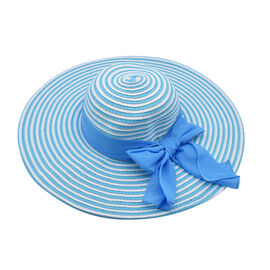 Thomas Calvi Summer Hat with Bow - Sky Blue and Off-White
