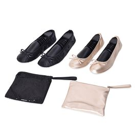 Set of 2 - Foldable Flat Ballet Shoe Each with Zipper Storage Pouch (UK 3-4) - Black and Nude