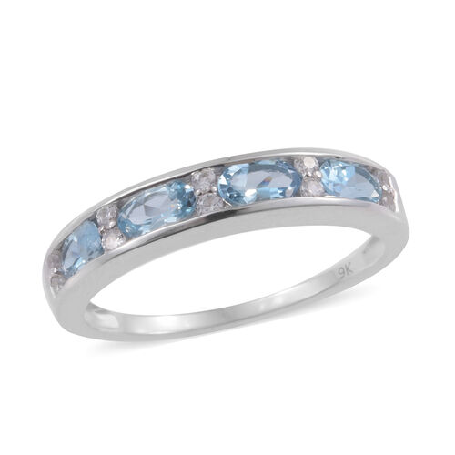 1 Carat AA Aquamarine and Cambodian Zircon Eternity Band Ring in 9K White Gold 2.29 Grams
