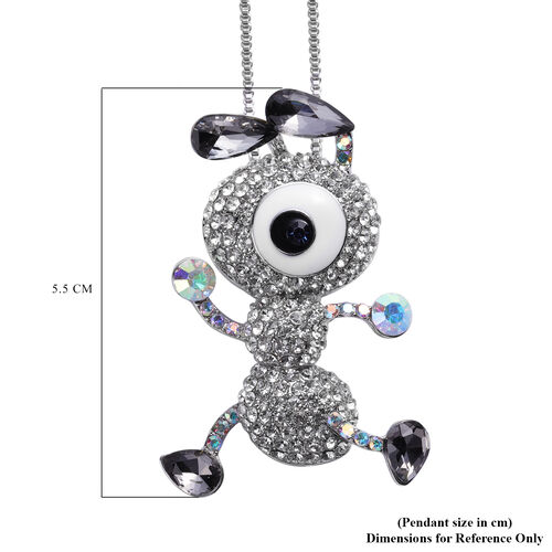 Simulated Grey Spinel, Multi Colour Austrian Crystal Enamelled Dainty Ant Pendant with Chain (Size 30 with Extender) in Silver Tone