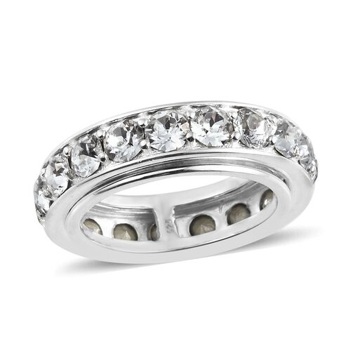 J Francis Crystal from Swarovski - White Crystal (Rnd) Spinner Ring in Sterling Silver, Silver wt 8.