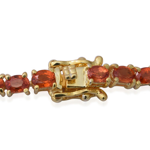 Orange Sapphire (Ovl) Tennis Bracelet (Size 7.5) in Yellow Gold Overlay Sterling Silver 9.66 Ct, Silver wt 8.40 Gms