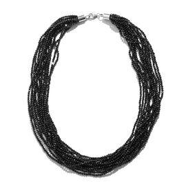 Designer Inspired-Boi Ploi Black Spinel (Rnd) Beads Necklace (Size 18) in Rhodium Overlay Sterling S