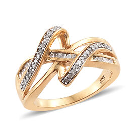 0.25 Ct Diamond Crossover Design Ring in Gold and Platinum Plated Sterling Silver