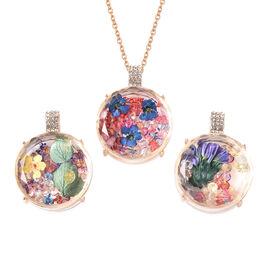 Set of 3 - Simulated Diamond and Multi Colour Austrian Crystal Dried Flower Pendants with Chain (Siz