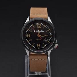 Columbia Canyon Ridge Black 3-Hand Date Camel Leather Watch