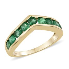 1.25 Ct AA Premium Santa Terezinha Emerald Wishbone Ring in 9K Gold