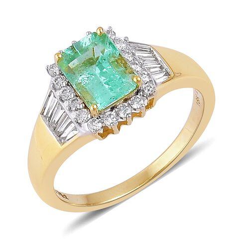 ILIANA 18K Yellow Gold AAA Boyaca Colombian Emerald (Oct 1.75 Ct), Diamond (SI/G-H) Ring 2.250 Ct.