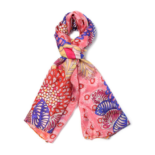 100% Mulberry Silk Garden Themed Pattern Scarf (Size 180x110Cm) - Pink and Multi