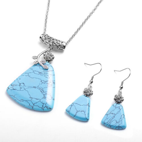 2 Piece Set - Blue Howlite  Hook Earrings and Pendant with Chain (Size 20 with 2 inch Extender) in S