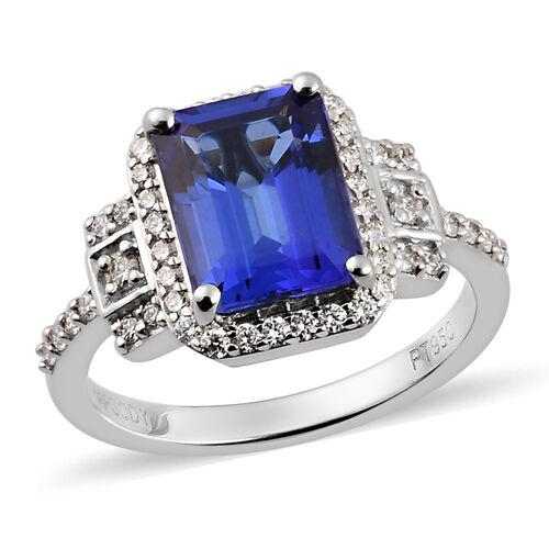 RHAPSODY 950 Platinum AAAA Tanzanite and Diamond (VS/F) Ring 3.00 Ct, Platinum wt. 5.65 Gms
