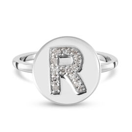 White Diamond Initial-R Ring in Platinum Overlay Sterling Silver