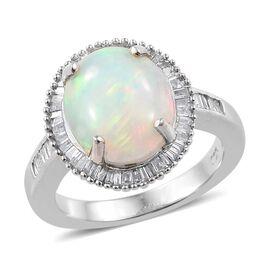 Wegeltina- Ethiopian Welo Opal (Ovl 12x10 mm), Diamond Ring (Size O) in Platinum Overlay Sterling Silver 3.50