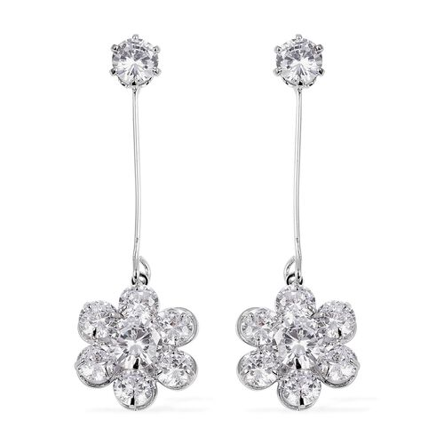 Set of 2 - Simulated Diamond (Rnd), Simulated Grey Spinel, White Austrian Crystal and Simulated Blue Sapphire Earrings (with Push Back) in Silver Tone