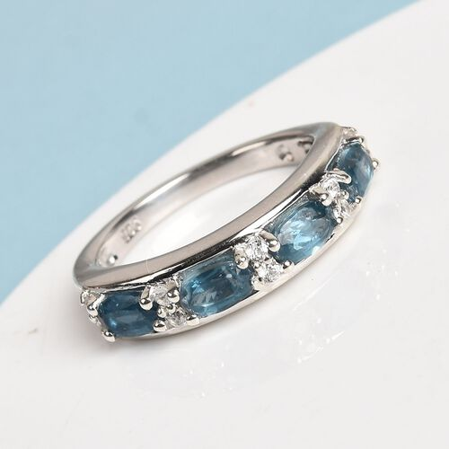 Teal Kyanite and Natural Cambodian Zircon Half Eternity Ring in Platinum Overlay Sterling Silver 1.50 Ct.