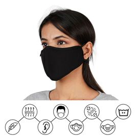 6 Layer Reusable and Washable Face Covering (One Size) - Black