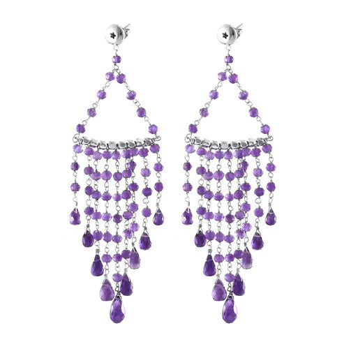 GP Amethyst (Rnd), Kanchanaburi Blue Sapphire Earrings (with Push Back) in Platinum Overlay Sterling Silver 18.060 Ct.
