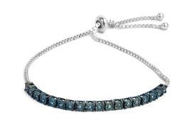 Blue Diamond (Rnd) Bolo Bracelet (Size 6.5-9 Adjustable) in Rhodium Overlay Sterling Silver 0.25 Ct