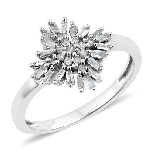 Firecracker Diamond (Bgt and Rnd) Ring in Platinum Overlay Sterling Silver 0.330 Ct.
