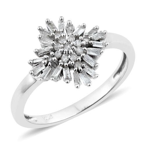 Firecracker Diamond (Bgt and Rnd) Ring in Platinum Overlay Sterling Silver 0.330 Ct.