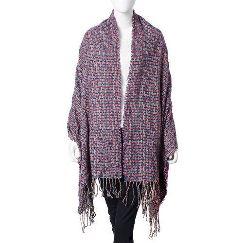 Stylish Tweed Look Full Tassels Large  Scarf  (Size 180x68 Cm) Purple Major Colour