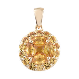 Limited Edition-9K Yellow Gold AA Yellow Sapphire (Princess Cut) Pressure Set Pendant 1.750 Ct.