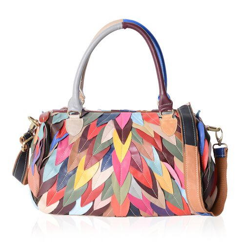 Morocco Collection - 100% Genuine Leather Multi Colour Feather Pattern Tote Bag with Removable Shoul