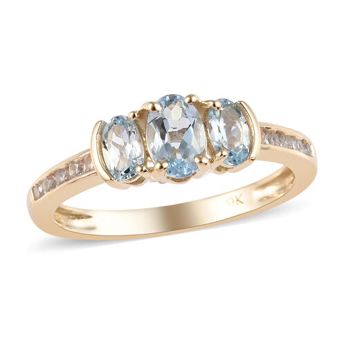 1 Ct AA Espirito Santo Aquamarine and Natural Cambodian Zircon Trilogy Ring in 9K Gold