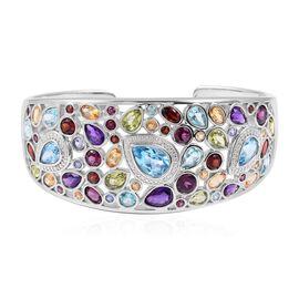 25.11 Ct Tanzanite and Multi Gemstones Cuff Bangle in Rhodium Plated Sterling Silver 30 Grams