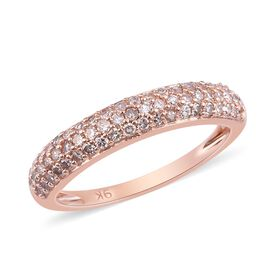 0.50 Ct Natural Pink Diamond Band Ring in 9k Rose Gold