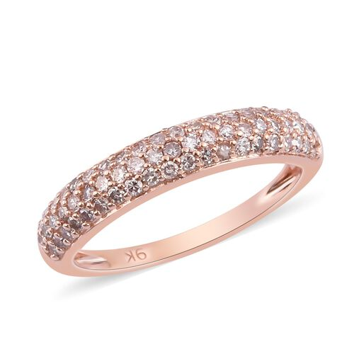 0.50 Ct Natural Pink Diamond Band Ring in 9k Rose Gold