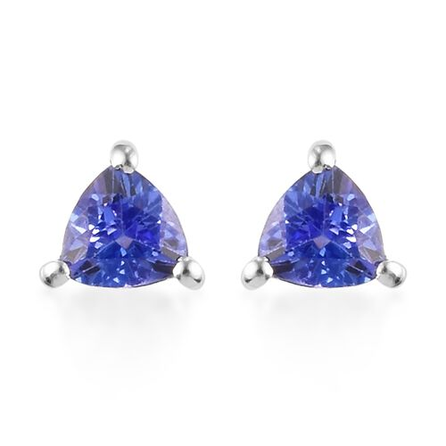 Tanzanite Stud Earrings (with Push Back) in Sterling Silver