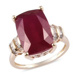 9K Yellow Gold African Ruby and Natural Diamond Ring 9.85 Ct
