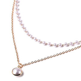 Simulated Pearl Double Layer Necklace (Size 16 with 4 inch Extender) in Gold Tone