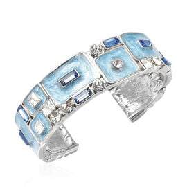 White Austrian Crystal, Simulated Diamond and Simulated Blue Sapphire Enamelled Bangle (Size 7) in S