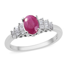 RHAPSODY 950 Platinum AAAA Burmese Ruby (Ovl 7x5 mm), Diamond (VS/E-F) Ring 1.150 Ct.