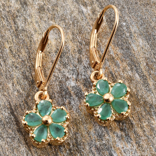Kagem Zambian Emerald (Pear) Lever Back Floral Earrings in 14K Gold Overlay Sterling Silver 1.330 Ct.