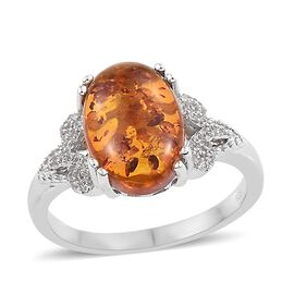 Baltic Amber (Ovl 2.00 Ct), Natural Cambodian Zircon Ring in Platinum Overlay Sterling Silver 2.250 Ct.